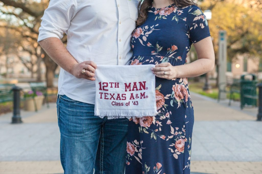 12th man towel and maternity portraits in college station tx