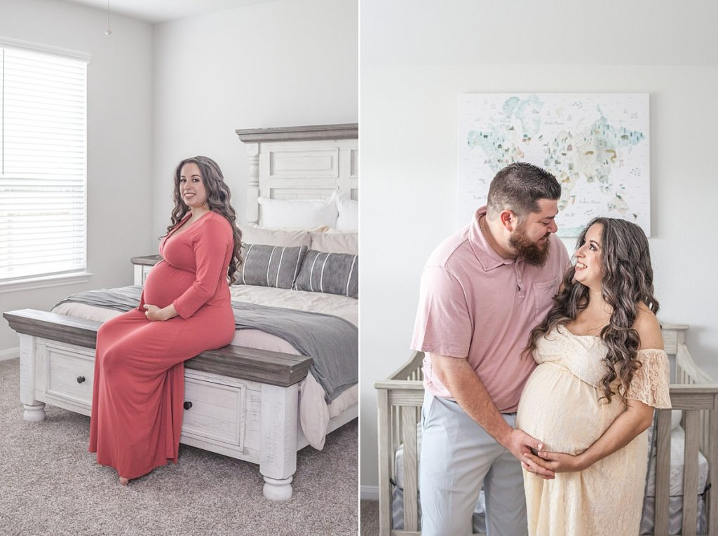 mama-to-be in coral dress in conroe, tx maternity sessio