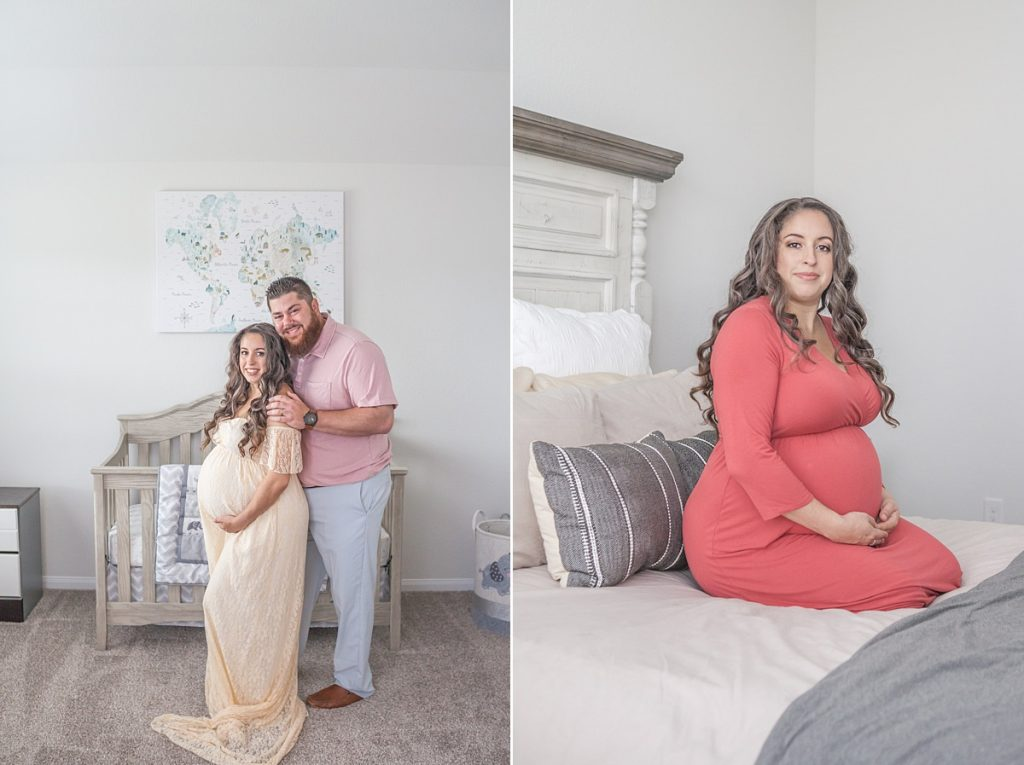 maternity photos at home with mama in coral dress