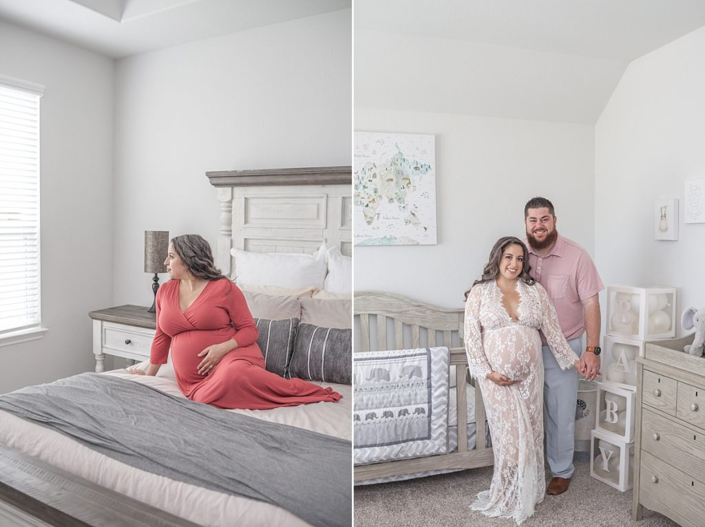 at-home maternity photography with mama in coral maxi dress