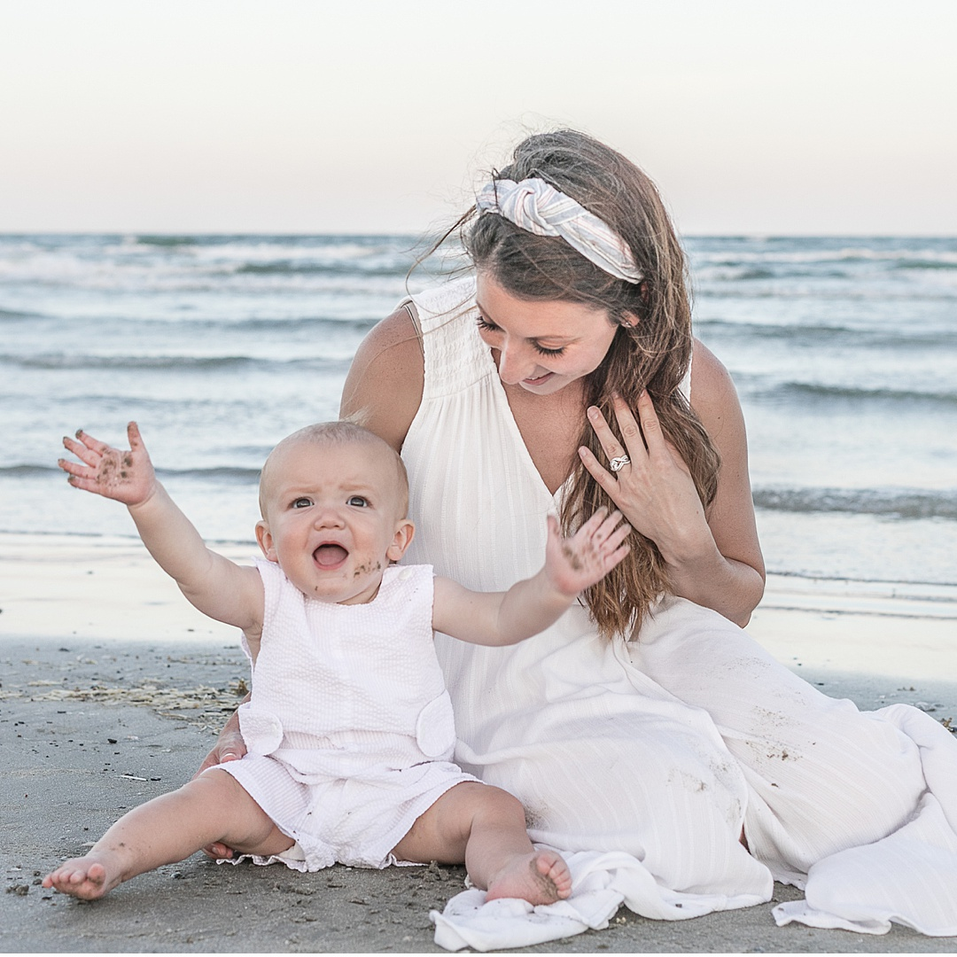 one year photo session on the beach with kristal bean photography