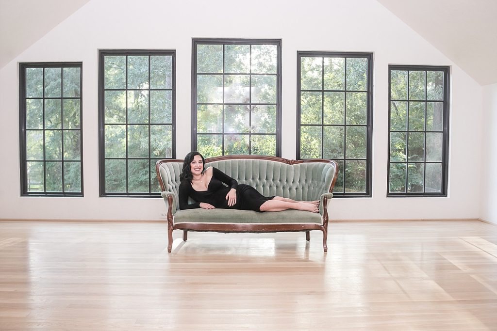 gorgeous glamorous maternity portrait with mom in black dress by kristal bean photography