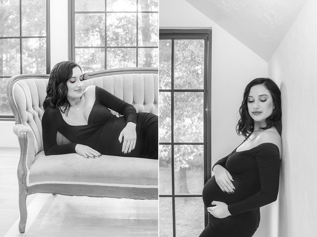 relaxed black and white maternity photos in studio by kristal bean photography